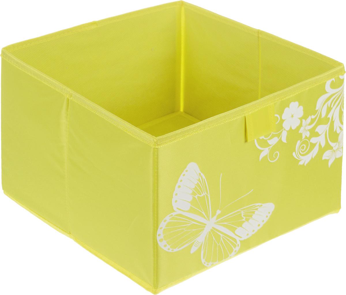 """Коробка для хранения """"Hausmann"""" поможет легко организовать пространство в шкафу или в гардеробе. Изделие выполнено из из нетканого материала и полиэстера. Коробка держит форму благодаря жесткой вставке из картона, которая устанавливается на дно. Боковая поверхность оформлена красивым принтом и изображением бабочки. В такой коробке удобно хранить одежду, нижнее белье, различные аксессуары."""