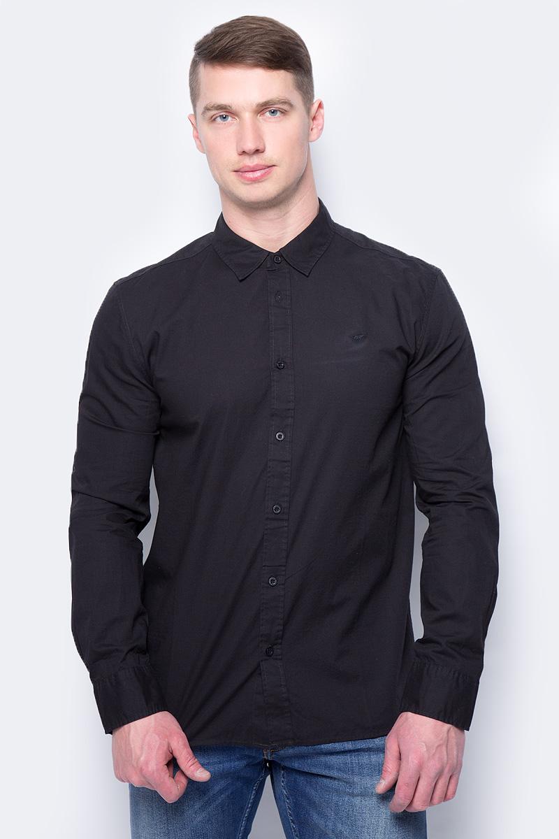 Купить Рубашка мужская Mustang 1/1Slv_0/P_K, цвет: черный. 4602-4240-440. Размер M (48)