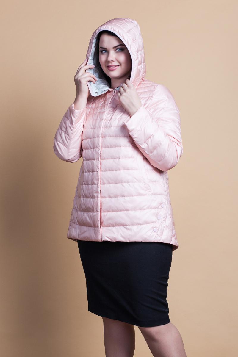 Куртка женская Clasna, цвет: персиковый. CW18C-088CWL. Размер 56 куртка утепленная clasna clasna cl016ewyfd19