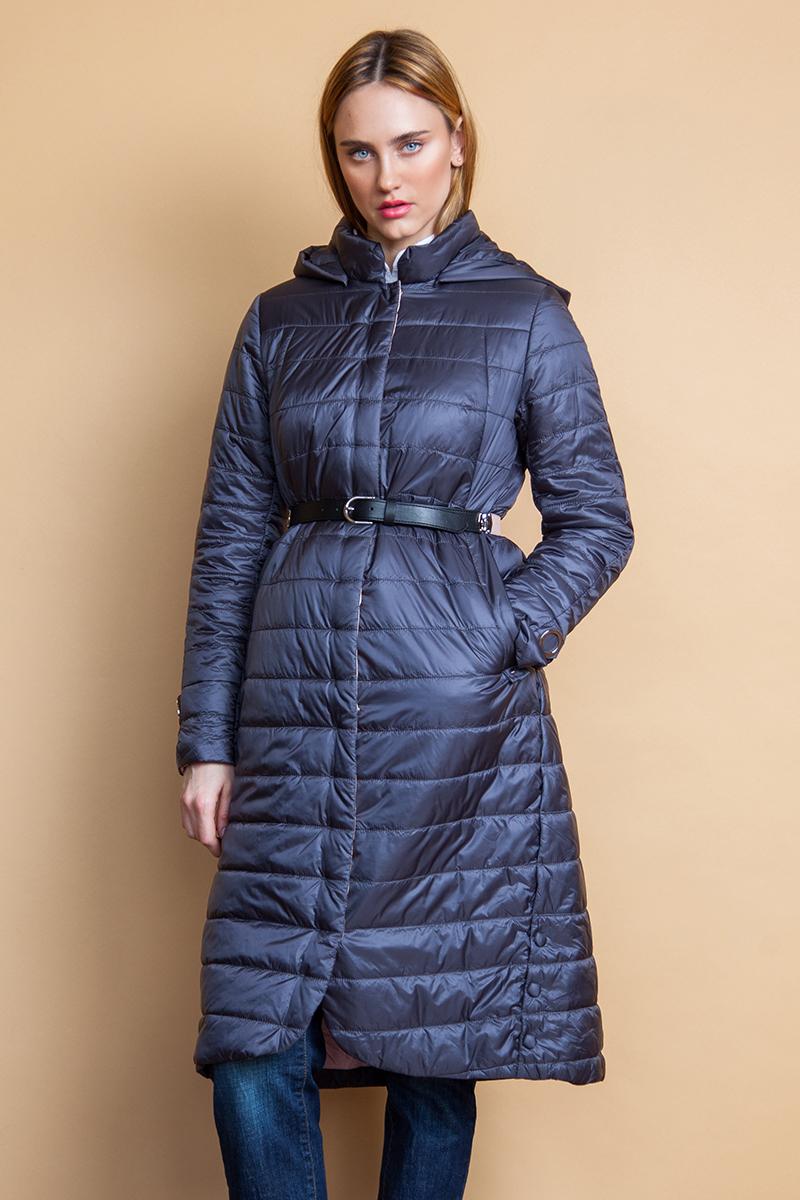Куртка женская Clasna, цвет: темно-серый. CW18C-038ACW. Размер XL (48)CW18C-038ACW(736)Модная женская куртка Clasna, выполненная из стеганого нейлона с синтепоновым утеплителем, отлично подойдет для прохладной погоды. Удлиненная модель А-силуэта со съемным капюшоном и воротником-стойкой, надежно защищающим от ветра, застегивается на молнию с ветрозащитной планкой на кнопках. Спереди изделие дополнено двумя прорезными карманами на кнопке. Линию талии подчеркивает входящий в комплект пояс.