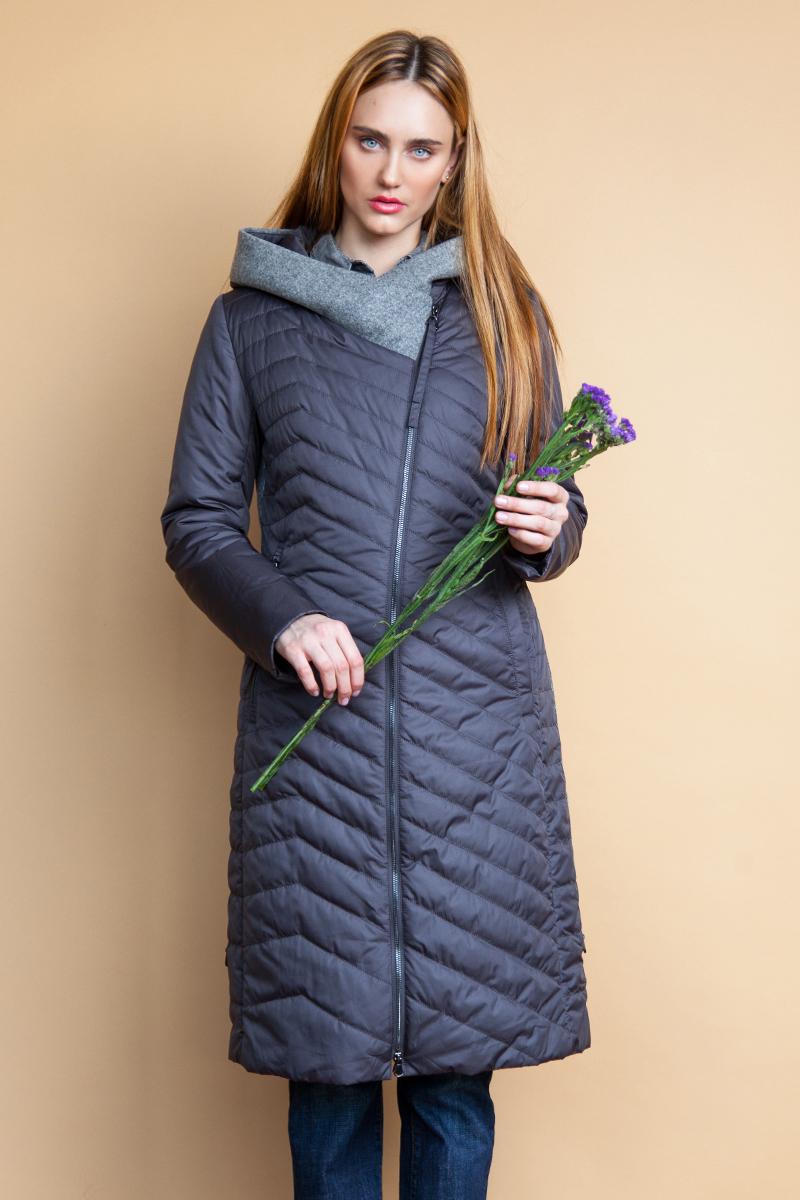 Куртка женская Clasna, цвет: темно-серый. CW18C-8539CW. Размер M (44) куртка утепленная clasna clasna cl016ewyfa03