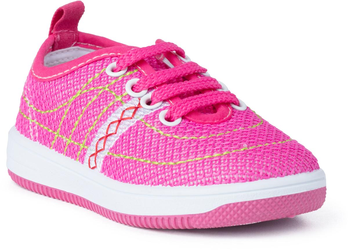 Кроссовки для девочки PlayToday Baby, цвет: розовый. 188232. Размер 19188232Кроссовки на шнуровке PlayToday выполнены из стеганого текстиля. Подкладка изготовлена из натурального хлопка. Легкая подошва обеспечивает оптимальный комфорт.
