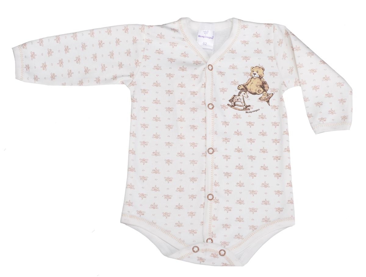 Боди детское Мамуляндия, цвет: бежевый. 15-501П. Размер 80 боди детское hudson baby hudson baby боди цыплёнок 3 шт бирюзово розовый