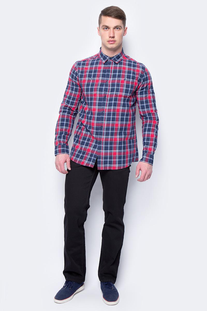 Рубашка мужская Sela, цвет: темно-синий. H-212/778-8162. Размер 39H-212/778-8162