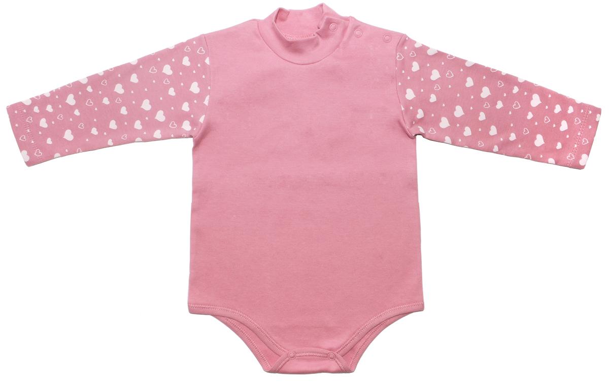 Боди-водолазка для девочки Мамуляндия Мечта, цвет: темно-розовый. 17-2801. Размер 86