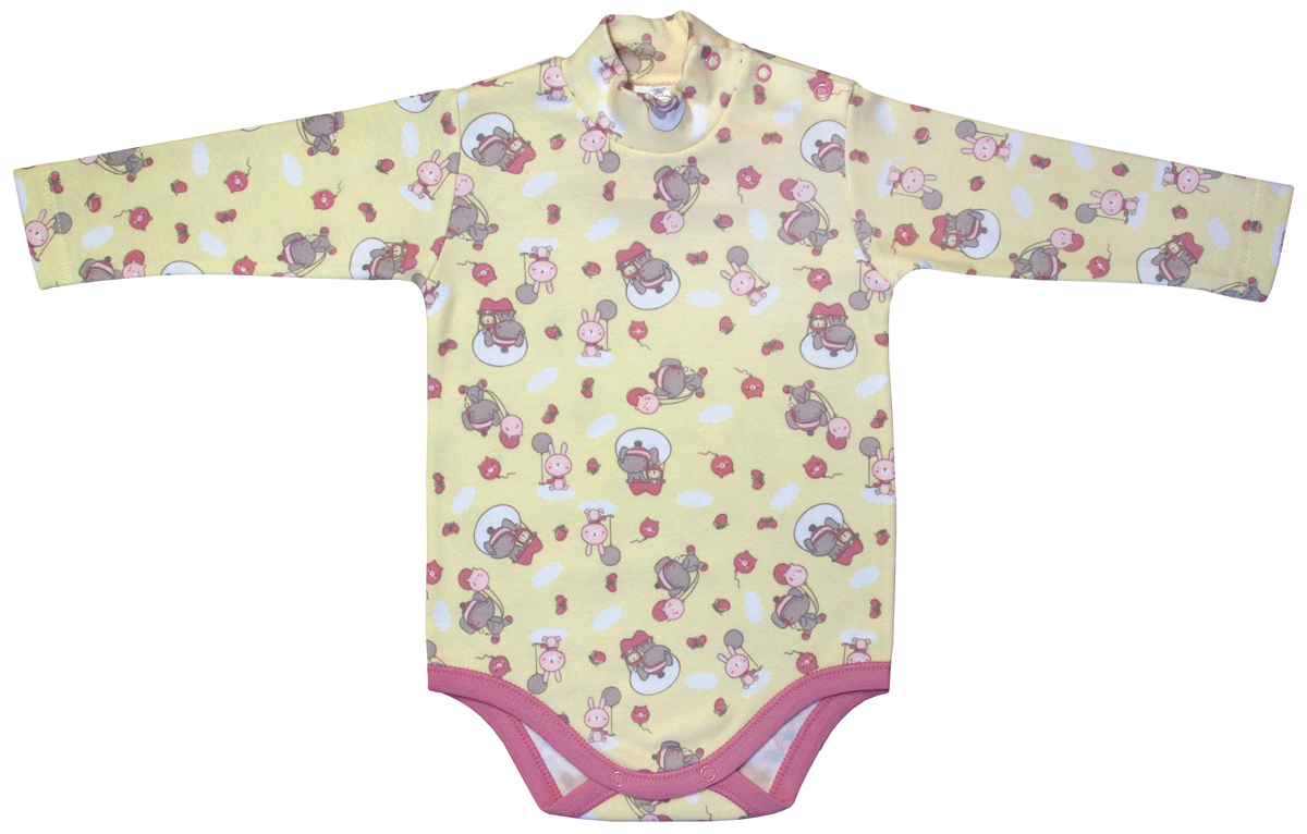 Боди-водолазка для девочки Мамуляндия Прогулка по облакам, цвет: желтый. 17-1411. Размер 80