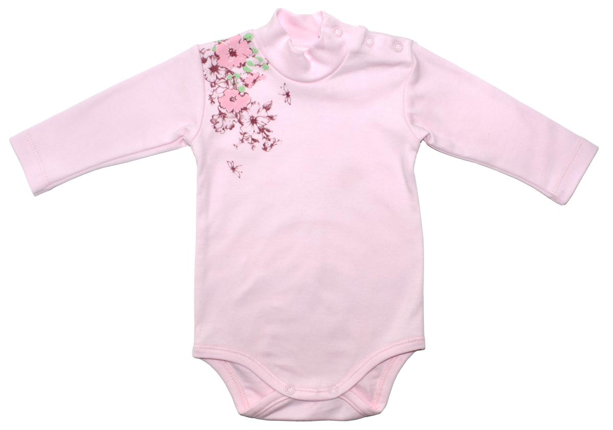Боди-водолазка для девочки Мамуляндия Цветочная, цвет: розовый. 17-2401. Размер 86