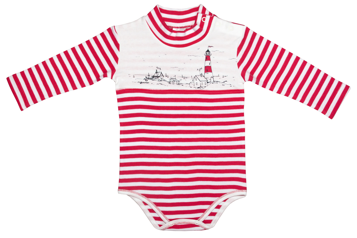 Боди-водолазка для мальчика Мамуляндия Маяк, цвет: красный, белый. 17-2101. Размер 80