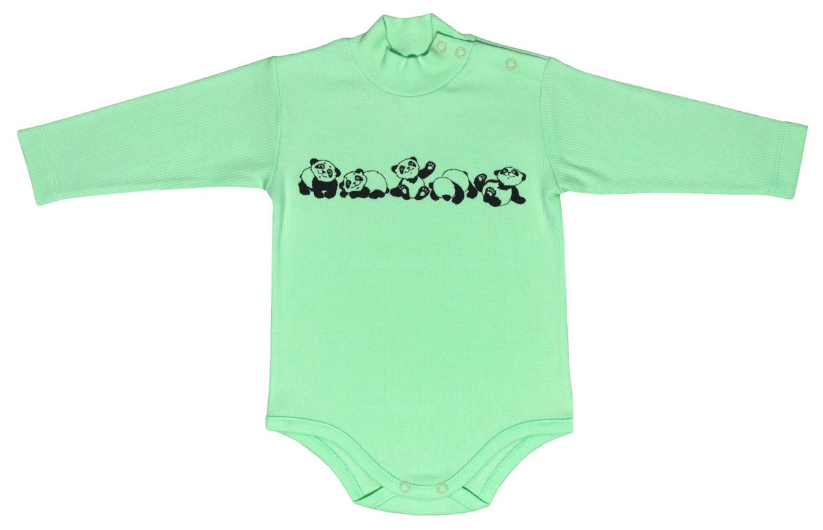 Боди-водолазка для мальчика Мамуляндия Панда, цвет: зеленый. 17-911. Размер 86