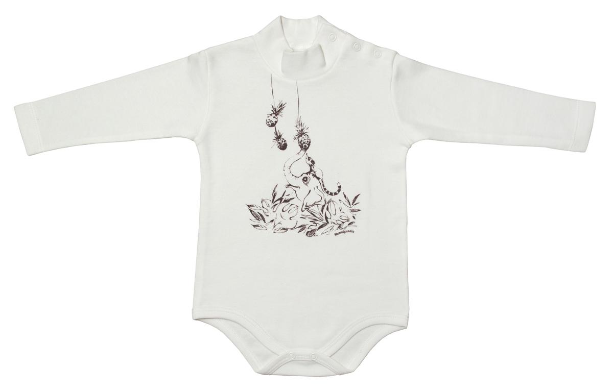 Боди-водолазка для мальчика Мамуляндия Экзотика, цвет: белый. 17-1301. Размер 80