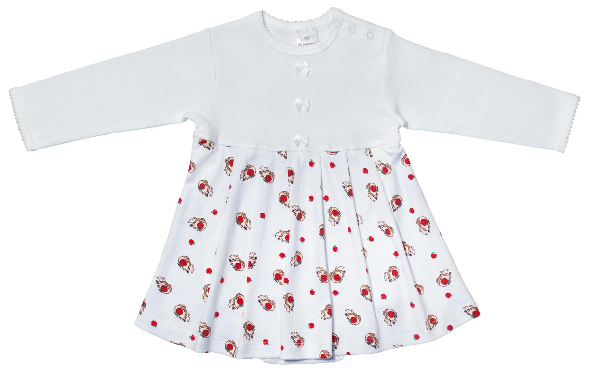 Боди-платье для девочки Мамуляндия Ежата, цвет: белый. 17-1001. Размер 80