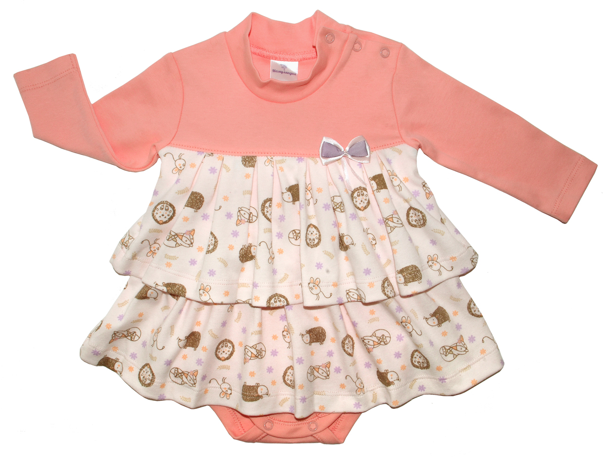 Боди-платье для девочки Мамуляндия Лесная тайна, цвет: оранжевый. 17-1801. Размер 80
