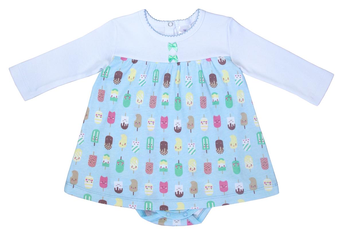 Боди-платье для девочки Мамуляндия Мороженки, цвет: белый, голубой. 17-1208. Размер 6217-1208Боди-платье для девочки Мамуляндия отлично подойдет для гардероба маленькой принцессы. Изделие изготовлено из трикотажного полотна (интерлок). Боди-платье с круглым вырезом горловины и длинными рукавами имеет застежки-кнопки сзади и на ластовице, что позволит легко переодеть малышку или сменить подгузник. Боди полностью соответствует особенностям жизни малютки в ранний период, не стесняя и не ограничиваяее в движениях. В нем вашей маленькой принцессе будет очень удобно и комфортно, и всегда будет в центревнимания!