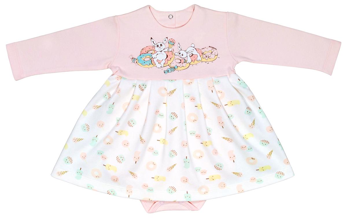 Боди-платье для девочки Мамуляндия Сластена, цвет: белый, розовый. 17-808. Размер 80