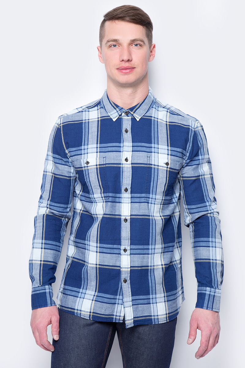 Рубашка мужская Mustang Men Blouse/Shirt 1/1 Sleeve, цвет: белый, синий. 1005205-10857. Размер XXL (54) shirt men s long sleeve greg 223 199 1079 zv 1 blue