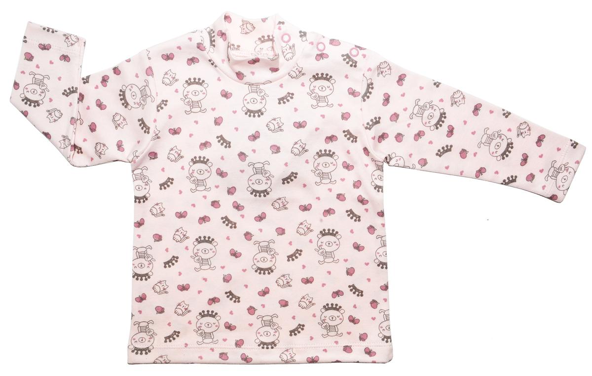 Водолазка для девочки Мамуляндия Мечта, цвет: розовый. 17-2802. Размер 6817-2802Водолазка для девочки Мамуляндия Мечта изготовлена из натурального хлопка и оформлена принтом. Модель с длинными рукавами и воротником-стойкой на плече застегивается на кнопки.
