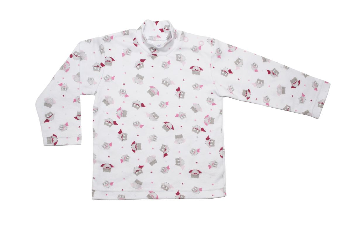 Водолазка для девочки Мамуляндия Совушки, цвет: белый, розовый. 17-2201. Размер 86 водолазка для девочки мамуляндия мечта цвет розовый 17 2802 размер 80