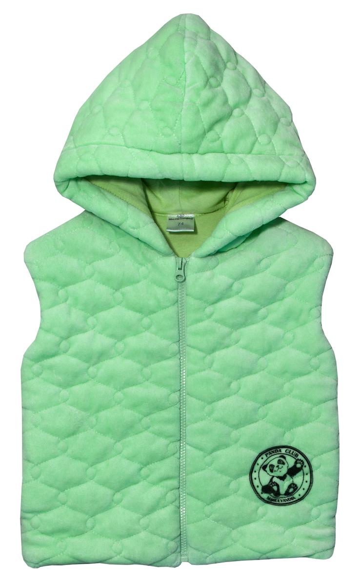 Жилет для мальчика Мамуляндия Панда, цвет: зеленый. 17-900. Размер 8617-900Жилет для мальчика Мамуляндия Панда выполнен из высококачественного материала. Модель с капюшоном застегивается спереди на застежку-молнию.