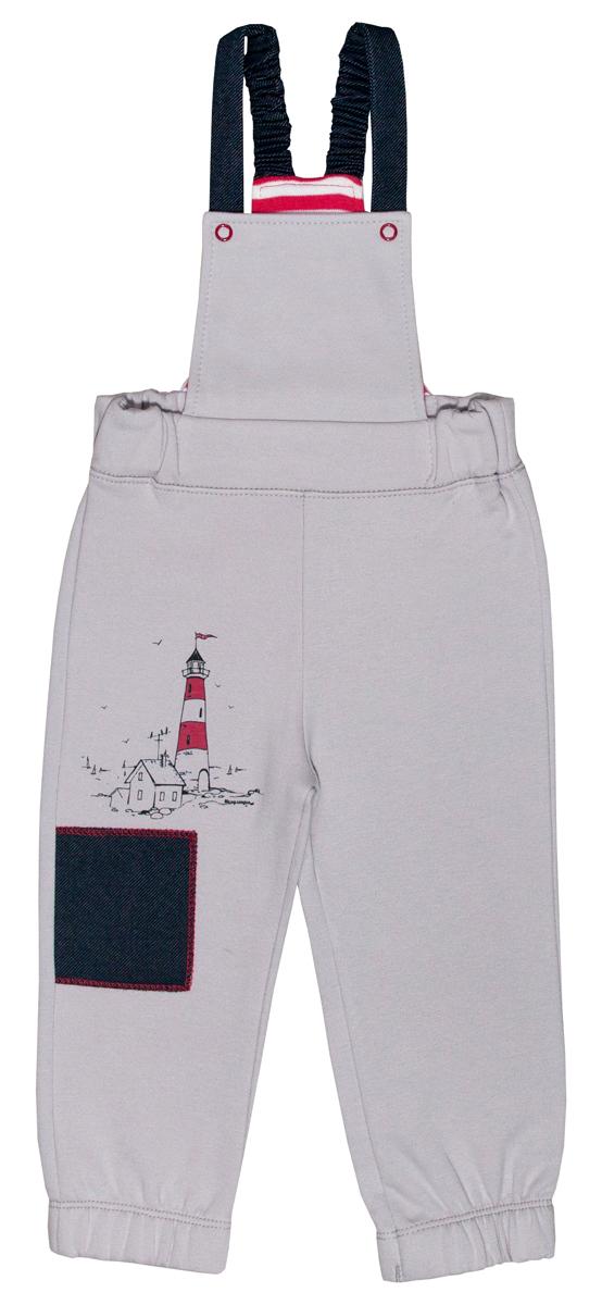 Полукомбинезон для мальчика Мамуляндия Маяк, цвет: серый. 17-2103. Размер 80 комплекты детской одежды мамуляндия комплект для мальчика полукомбинезон и футболка клякса