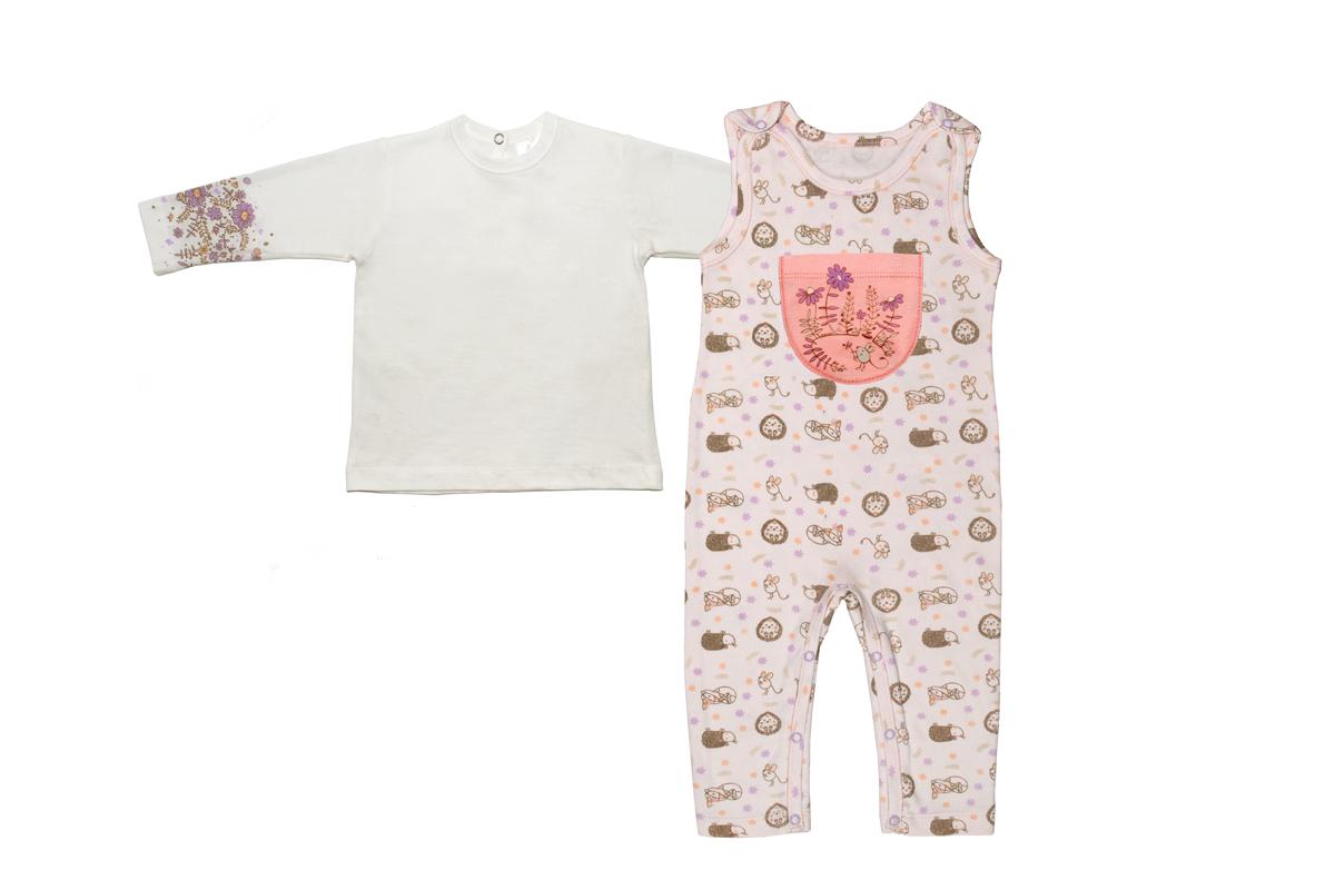 Комплект одежды для девочки Мамуляндия: полукомбинезон, джемпер, цвет: светло-розовый. 17-18002. Размер 86 водолазки и лонгсливы мамуляндия джемпер ягодки 17 206