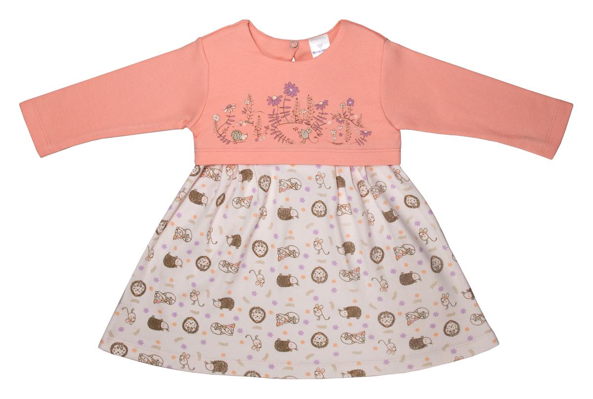 Платье для девочки Мамуляндия Лесная тайна, цвет: оранжевый. 17-1810. Размер 7417-1810Платье Мамуляндия станет отличным дополнением к гардеробу вашей малышки. Изготовленное из натурального хлопка, оно необычайно мягкое и легкое. Модель с длинными рукавами застегивается сзади на кнопку.