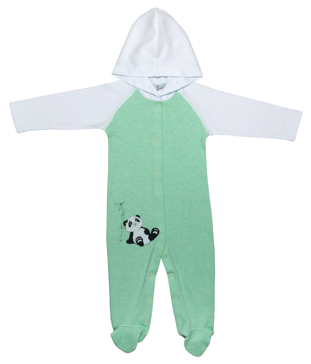 Комбинезон домашний для мальчика Мамуляндия Панда, цвет: белый, зеленый. 17-902. Размер 8017-902