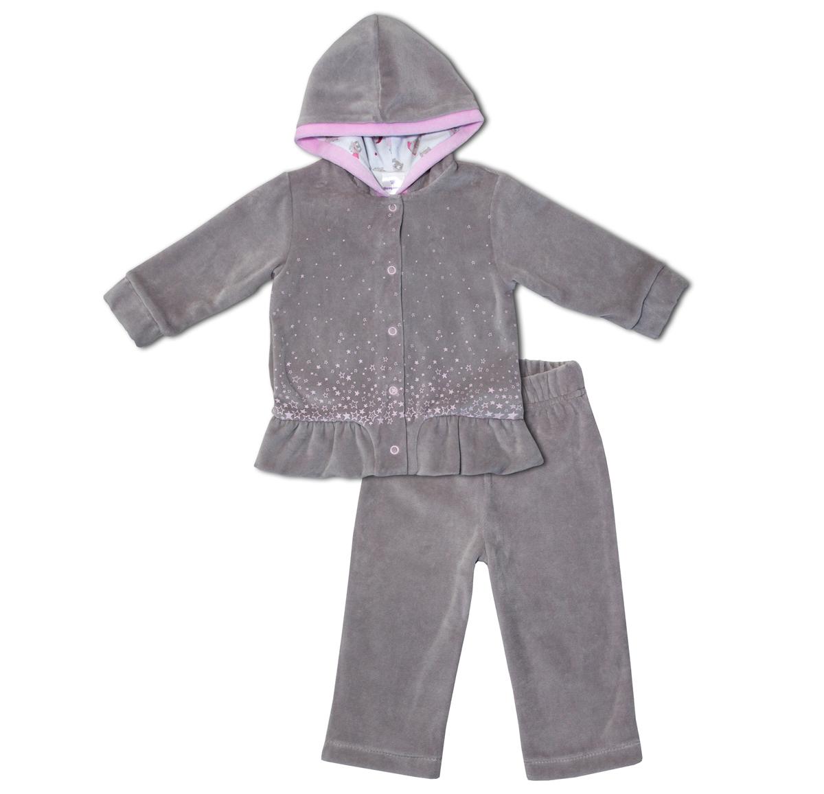 Комплект одежды для девочки Мамуляндия Совушки: кофта, брюки, цвет: серый. 17-22003. Размер 86 водолазки и лонгсливы zeyland кофта для девочки 72z4tav61