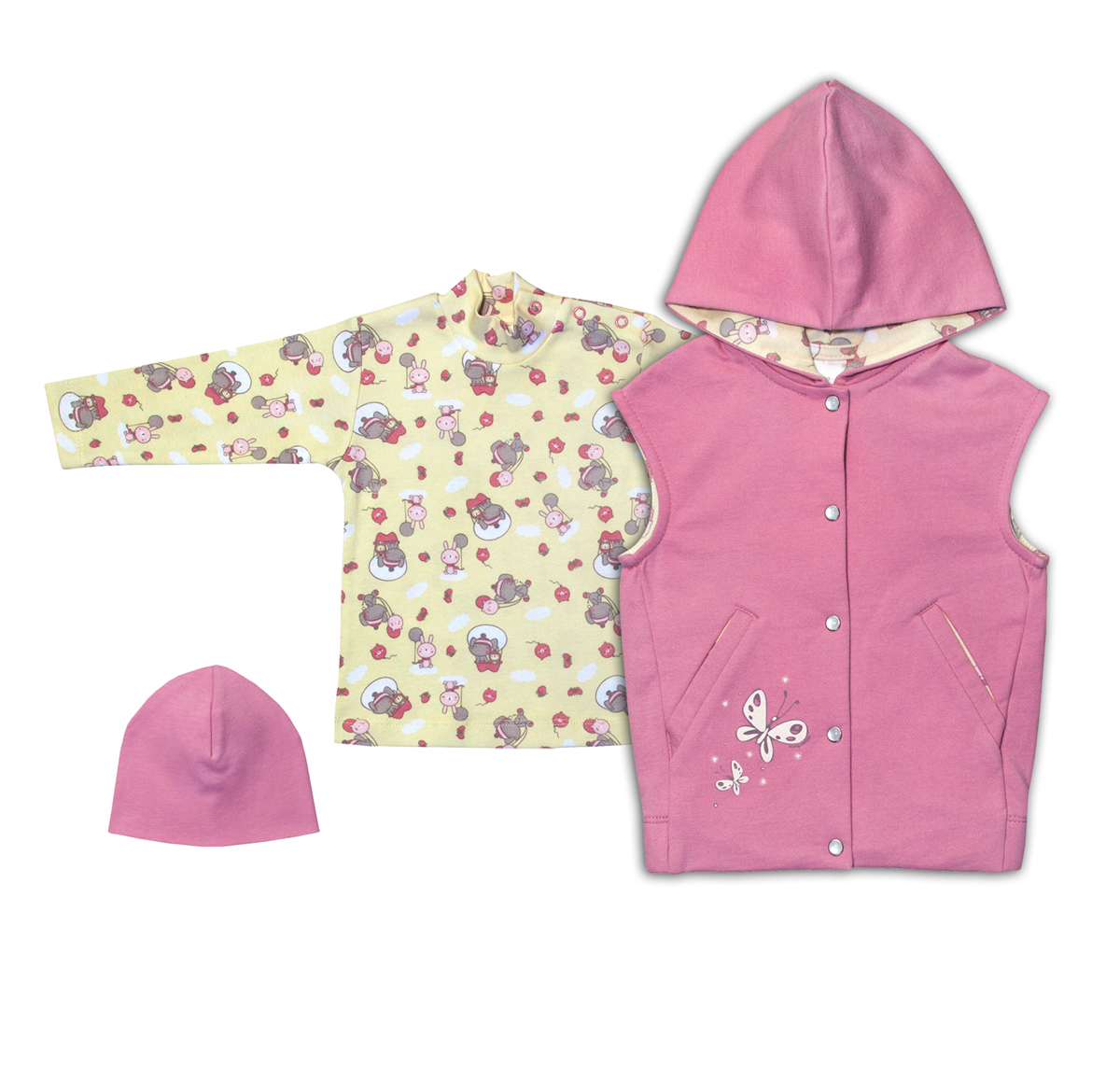 Комплект одежды для девочки Мамуляндия: жилет, водолазка, шапка, цвет: розовый, желтый. 17-1414. Размер 86 водолазки и лонгсливы мамуляндия джемпер ягодки 17 206