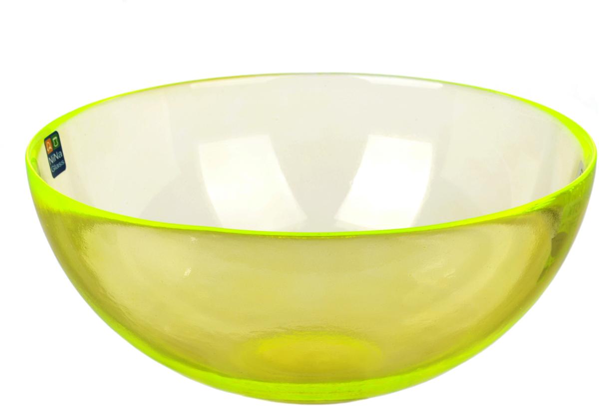 Салатник Nina Glass Лагуна, цвет: желтый, диаметр 20 смNG83-054YСтеклянная посуда Никольского завода светотехнического стекла, известная под торговой маркой NinaGlass, успешно продается в российских магазинах. Продукция выглядит презентабельно, ассортимент весьма широк. Яркие, емкие, приятные тактильно салатники будут шикарно смотреться на обеденном столе. Салатники и блюда предназначены для сервировки стола. Пригодны для ежедневного использования.Цветные салатники и тарелки NinaGlass нельзя использовать в СВЧ и мыть в ПММ.