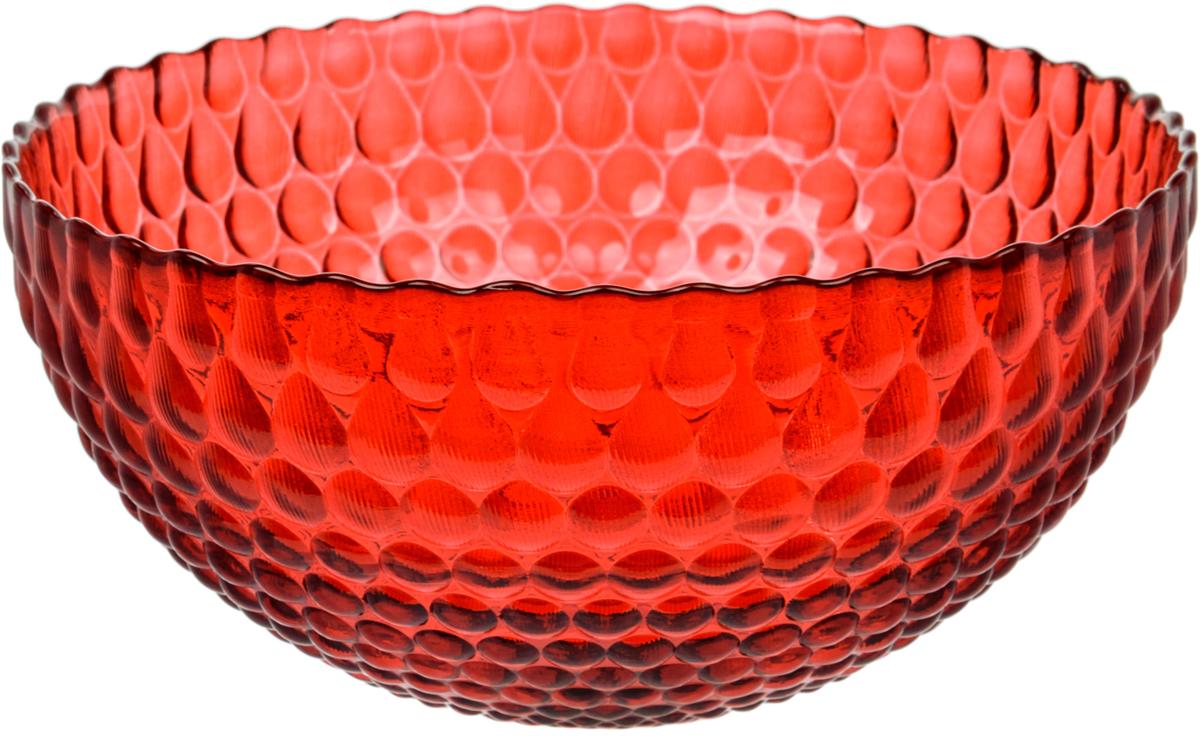 Салатник Nina Glass Роса, цвет: красный, диаметр 21 см салатник nina glass ажур цвет сиреневый диаметр 16 см