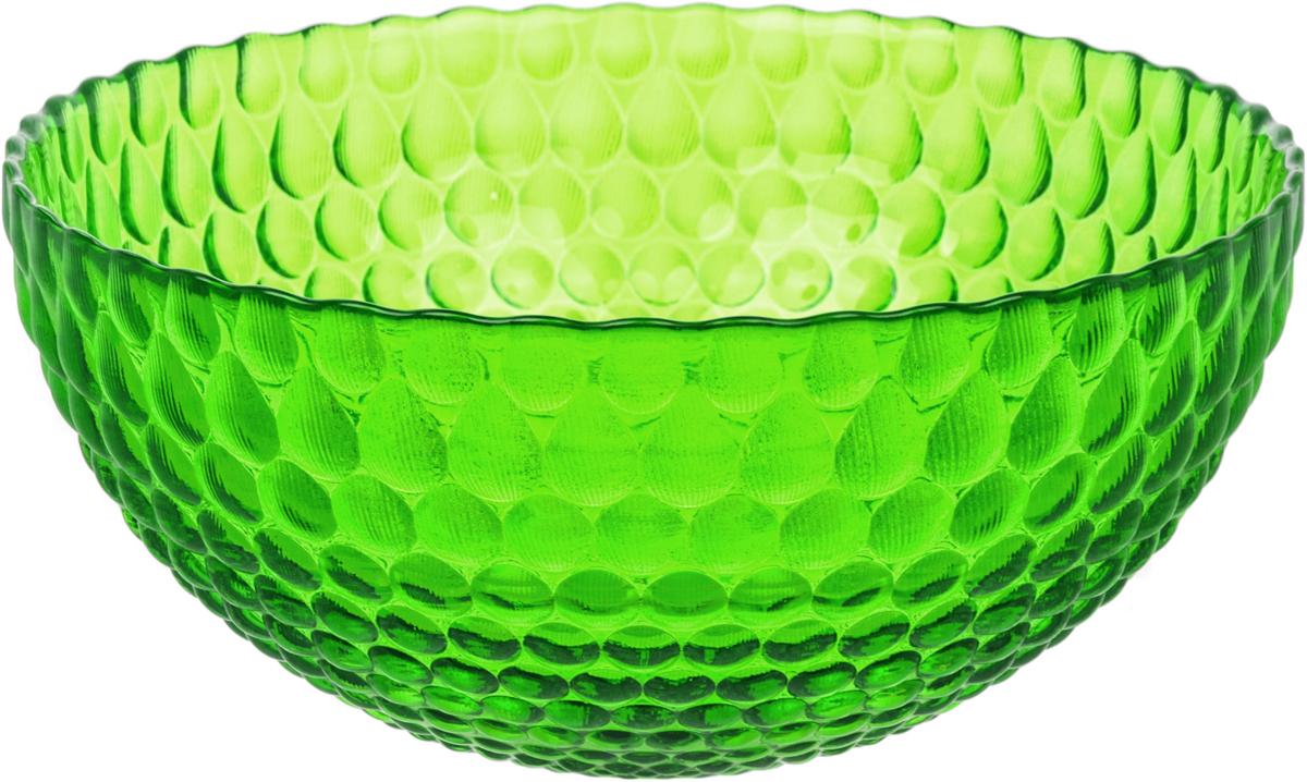 Салатник Nina Glass Роса, цвет: зеленый, диаметр 25 смNG83-061GСтеклянная посуда Никольского завода светотехнического стекла, известная под торговой маркой NinaGlass, успешно продается в российских магазинах. Продукция выглядит презентабельно, ассортимент весьма широк. Яркие, емкие, приятные тактильно салатники будут шикарно смотреться на обеденном столе. Салатники и блюда предназначены для сервировки стола. Пригодны для ежедневного использования.Цветные салатники и тарелки NinaGlass нельзя использовать в СВЧ и мыть в ПММ.