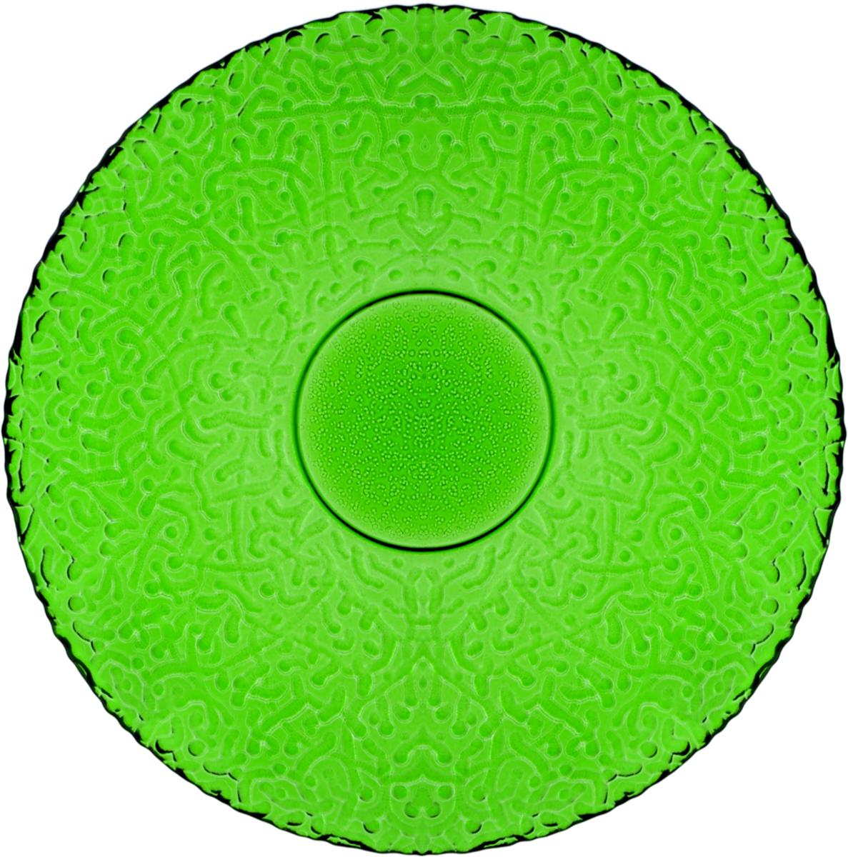Тарелка десертная Nina Glass Ажур, цвет: темно-зеленый, диаметр 21 смNG83-070EСтеклянная посуда Никольского завода светотехнического стекла, известная под торговой маркой NinaGlass, успешно продается в российских магазинах. Продукция выглядит презентабельно, ассортимент весьма широк. Яркие, емкие, приятные тактильно салатники будут шикарно смотреться на обеденном столе. Салатники и блюда предназначены для сервировки стола. Пригодны для ежедневного использования.Цветные салатники и тарелки NinaGlass нельзя использовать в СВЧ и мыть в ПММ.