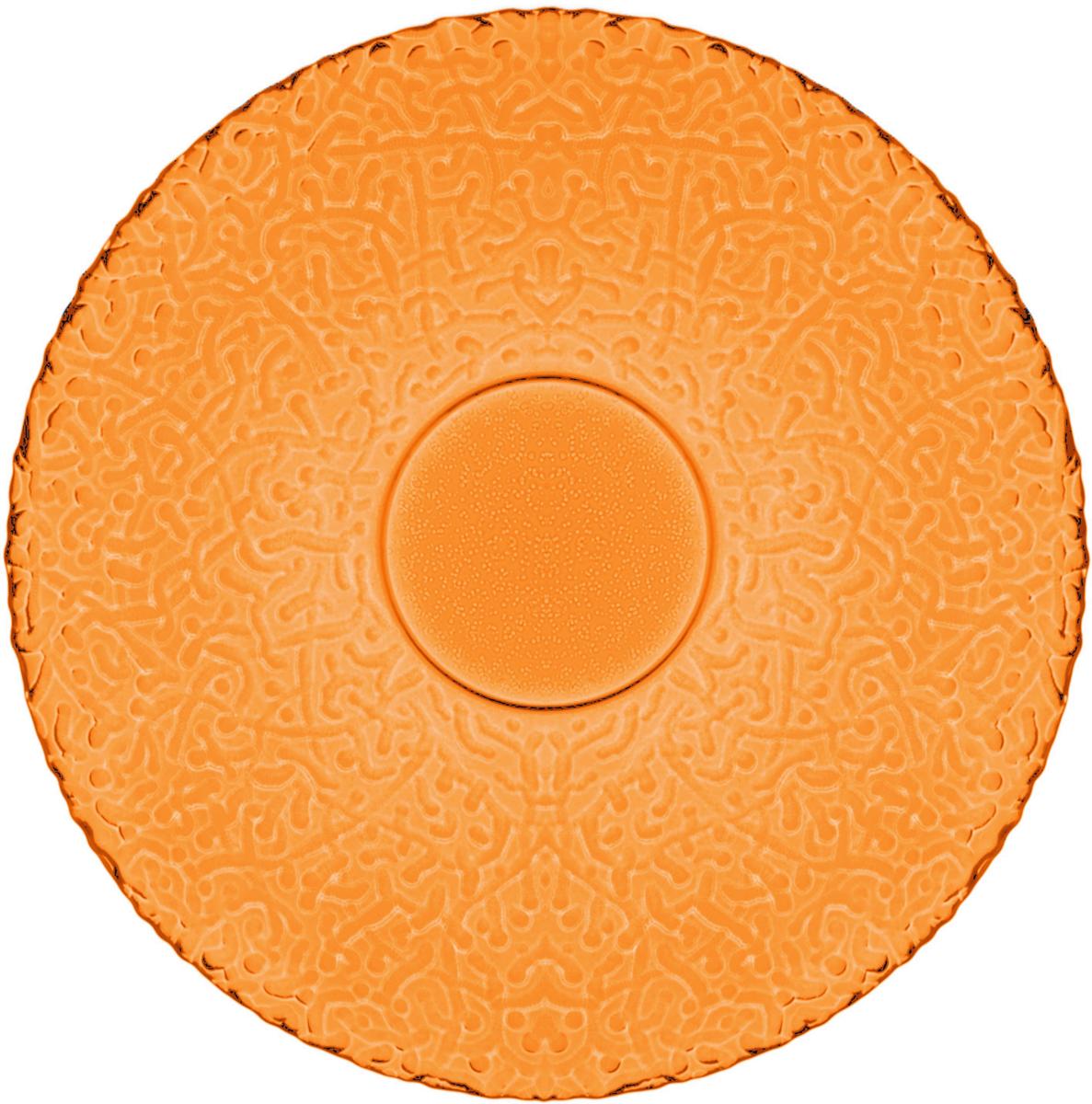 Тарелка десертная Nina Glass Ажур, цвет: оранжевый, диаметр 21 смNG83-070OСтеклянная посуда Никольского завода светотехнического стекла, известная под торговой маркой NinaGlass, успешно продается в российских магазинах. Продукция выглядит презентабельно, ассортимент весьма широк. Яркие, емкие, приятные тактильно салатники будут шикарно смотреться на обеденном столе. Салатники и блюда предназначены для сервировки стола. Пригодны для ежедневного использования.Цветные салатники и тарелки NinaGlass нельзя использовать в СВЧ и мыть в ПММ.