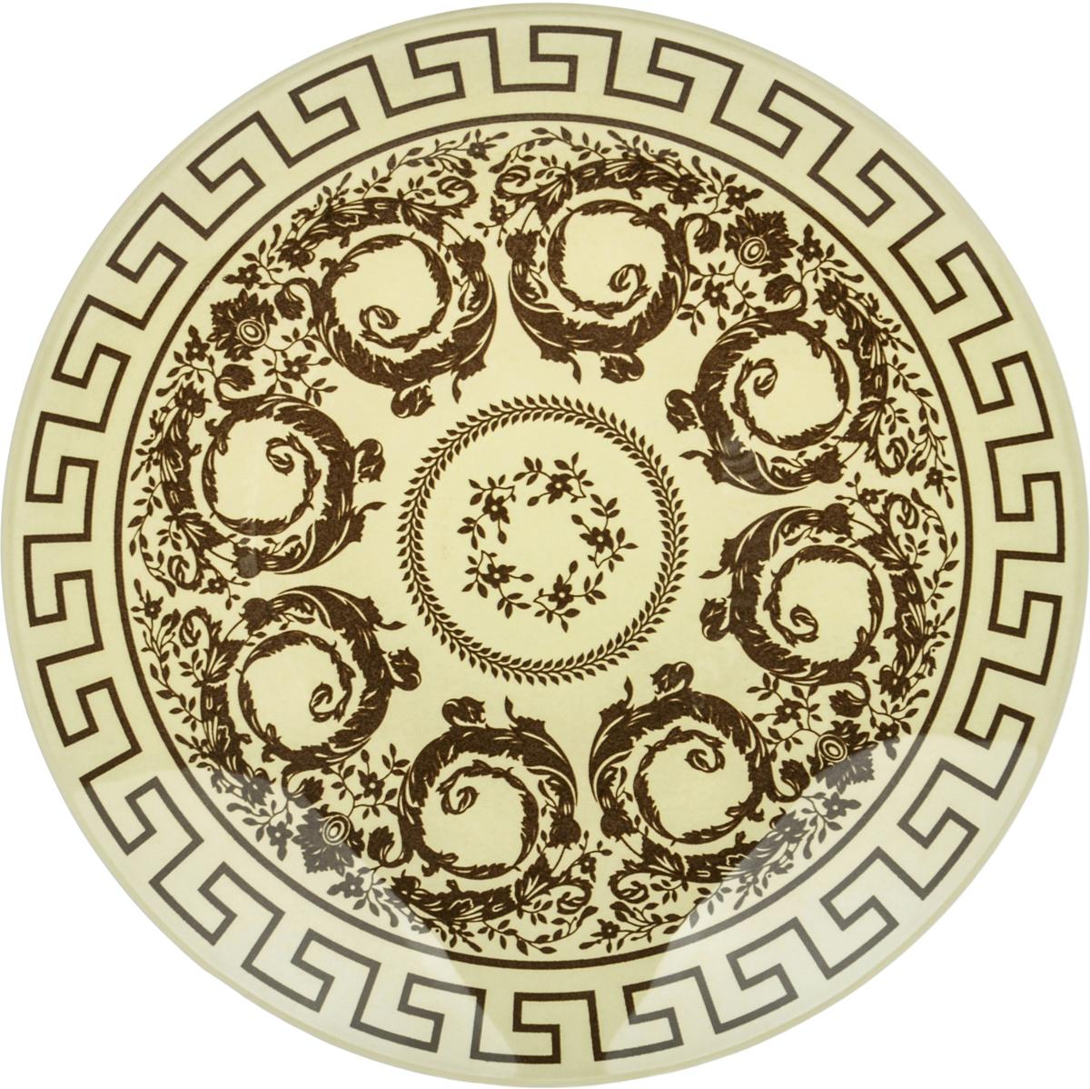 Тарелка Nina Glass Стиль, цвет: коричневый, диаметр 14 см салатник nina glass ажур цвет сиреневый диаметр 16 см
