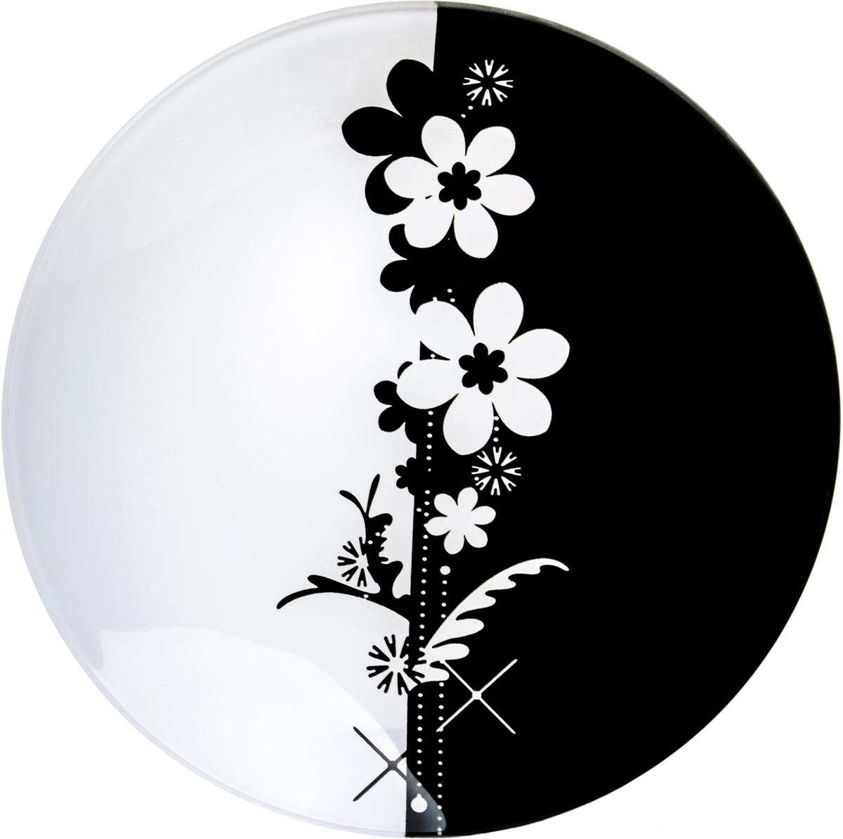 Тарелка Nina Glass Ромашки, цвет: черный, диаметр 14 см салатник nina glass ажур цвет сиреневый диаметр 16 см