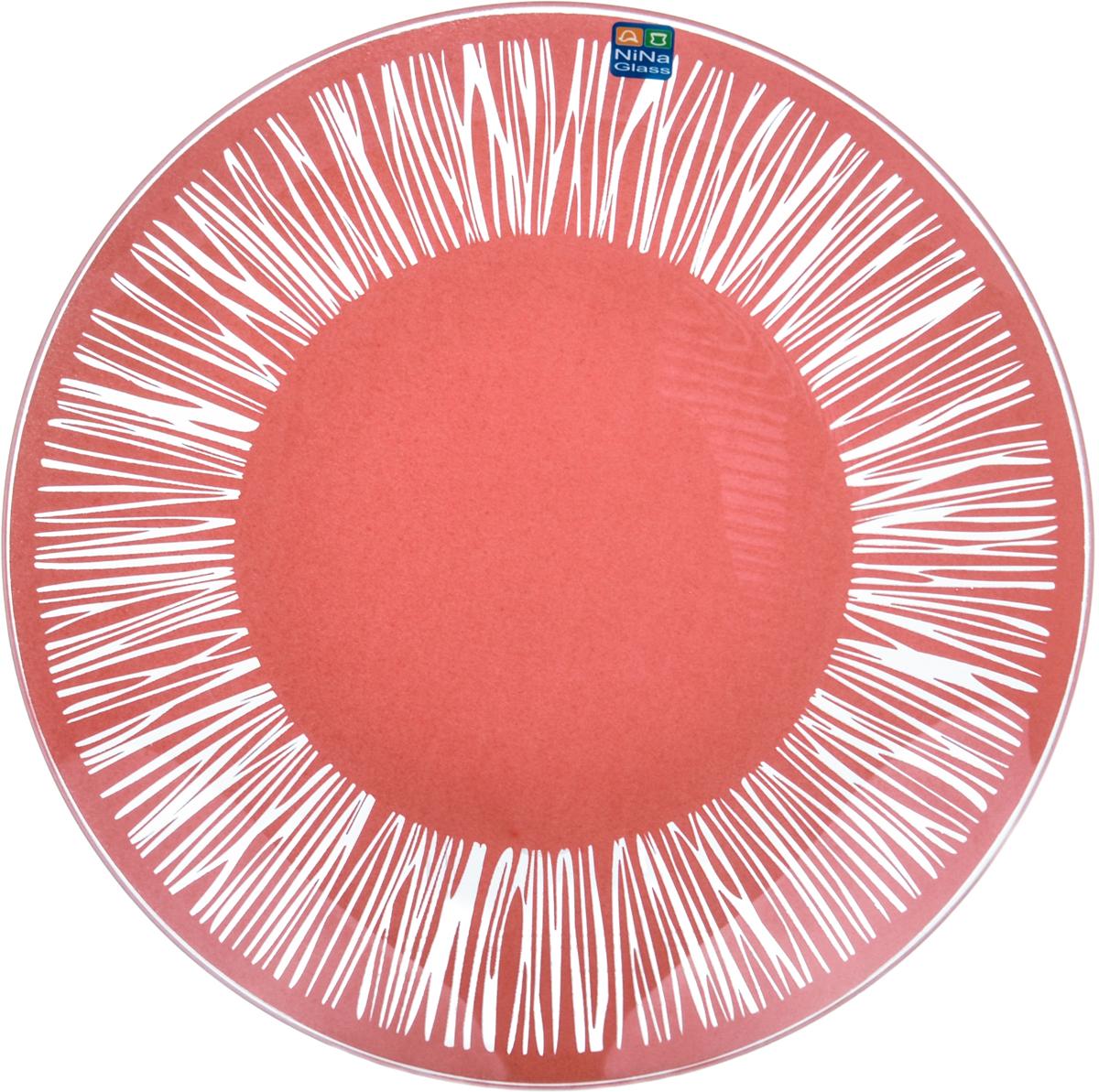 Тарелка Nina Glass Витас, цвет: коралловый, диаметр 20 см салатник nina glass ажур цвет сиреневый диаметр 16 см