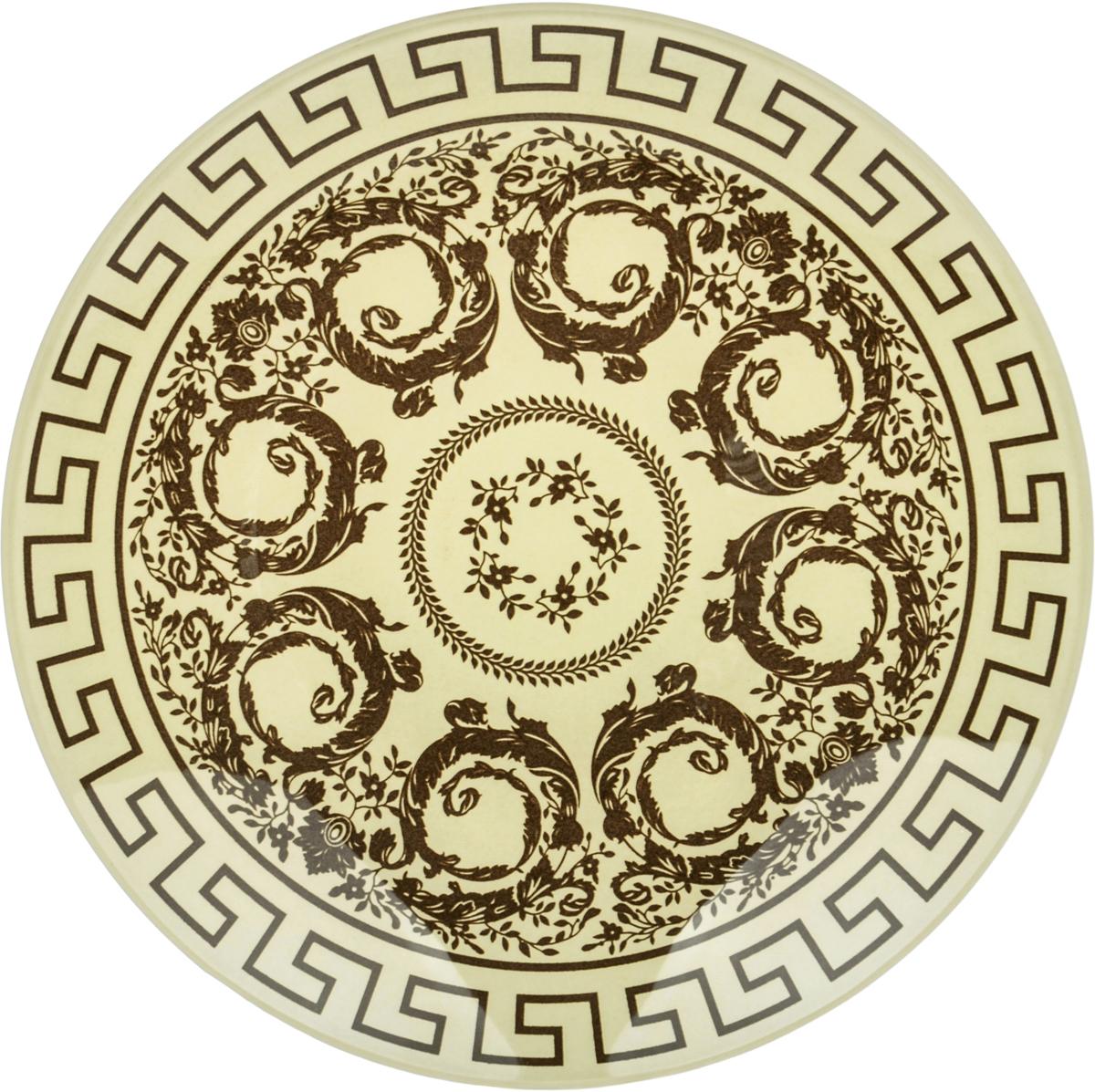 Тарелка Nina Glass Стиль, цвет: коричневый, диаметр 20 см салатник nina glass ажур цвет сиреневый диаметр 16 см
