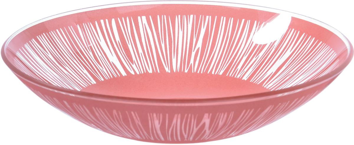 Тарелка Nina Glass Витас, цвет: коралловый, диаметр 22,5 см салатник nina glass ажур цвет сиреневый диаметр 16 см