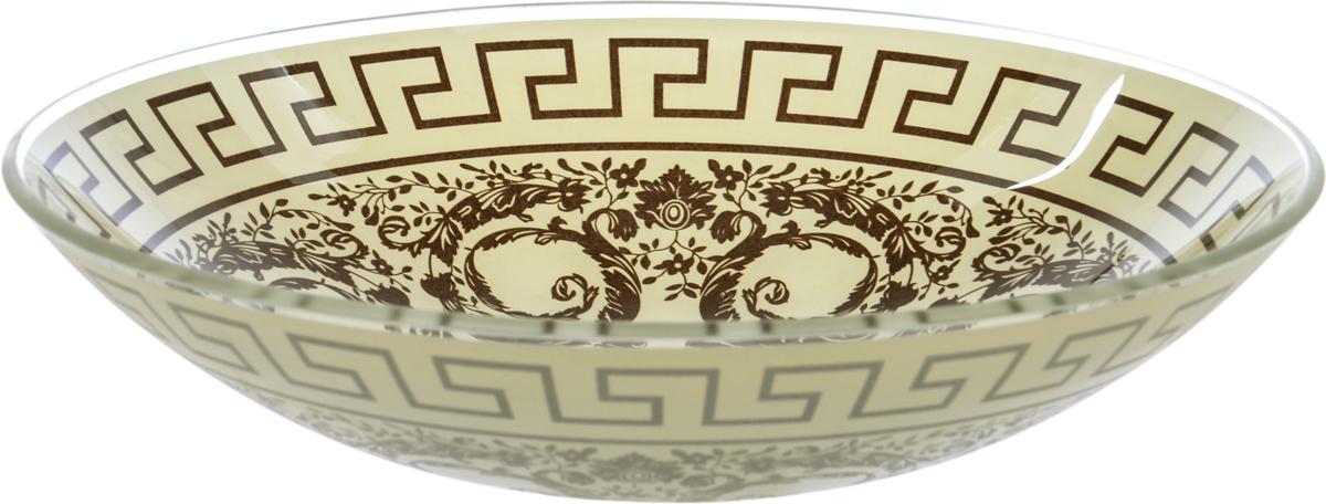 Тарелка Nina Glass Стиль, цвет: коричневый, диаметр 22,5 см салатник nina glass ажур цвет сиреневый диаметр 16 см