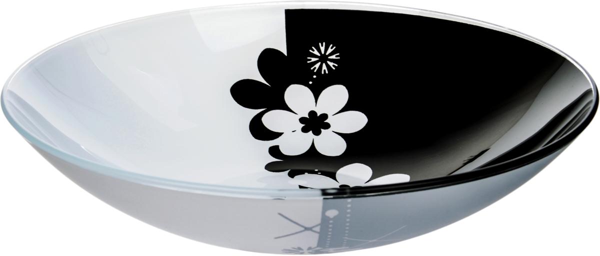 Тарелка Nina Glass Ромашки, цвет: черный, диаметр 22,5 см салатник nina glass ажур цвет сиреневый диаметр 16 см