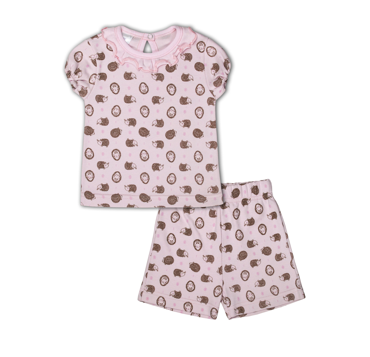 Комплект одежды для девочки Мамуляндия: шорты, футболка, цвет: розовый. 17-19003. Размер 86 комплекты детской одежды мамуляндия комплект для мальчика полукомбинезон и футболка клякса