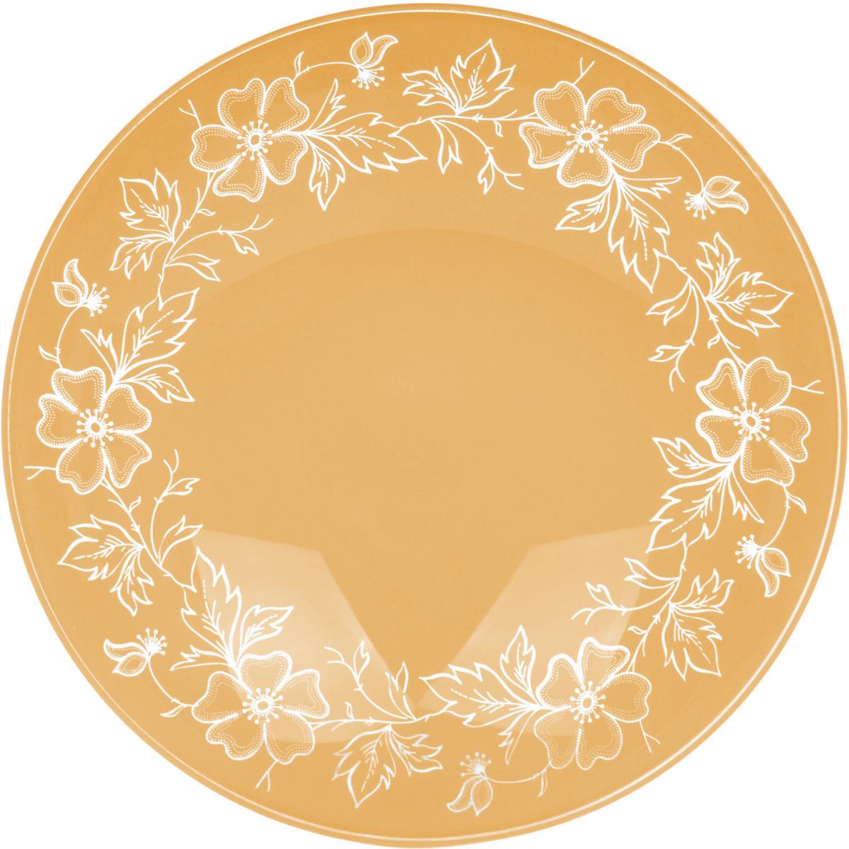 Тарелка Nina Glass Лара, цвет: оранжевый, диаметр 20 смNG85-200-075AСтеклянная посуда Никольского завода светотехнического стекла, известная под торговой маркой NinaGlass, успешно продается в российских магазинах. Продукция выглядит презентабельно, ассортимент весьма широк. Яркие, емкие, приятные тактильно салатники будут шикарно смотреться на обеденном столе. Салатники и блюда предназначены для сервировки стола. Пригодны для ежедневного использования.Цветные салатники и тарелки NinaGlass нельзя использовать в СВЧ и мыть в ПММ.