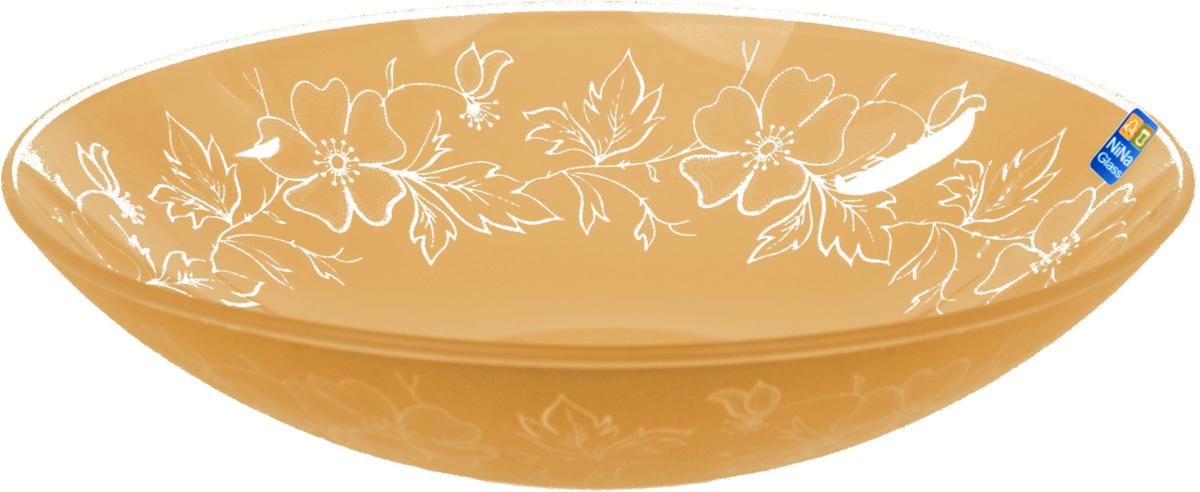 Тарелка Nina Glass Лара, цвет: оранжевый, диаметр 22,5 смNG85-225-075AСтеклянная посуда Никольского завода светотехнического стекла, известная под торговой маркой NinaGlass, успешно продается в российских магазинах. Продукция выглядит презентабельно, ассортимент весьма широк. Яркие, емкие, приятные тактильно салатники будут шикарно смотреться на обеденном столе. Салатники и блюда предназначены для сервировки стола. Пригодны для ежедневного использования.Цветные салатники и тарелки NinaGlass нельзя использовать в СВЧ и мыть в ПММ.