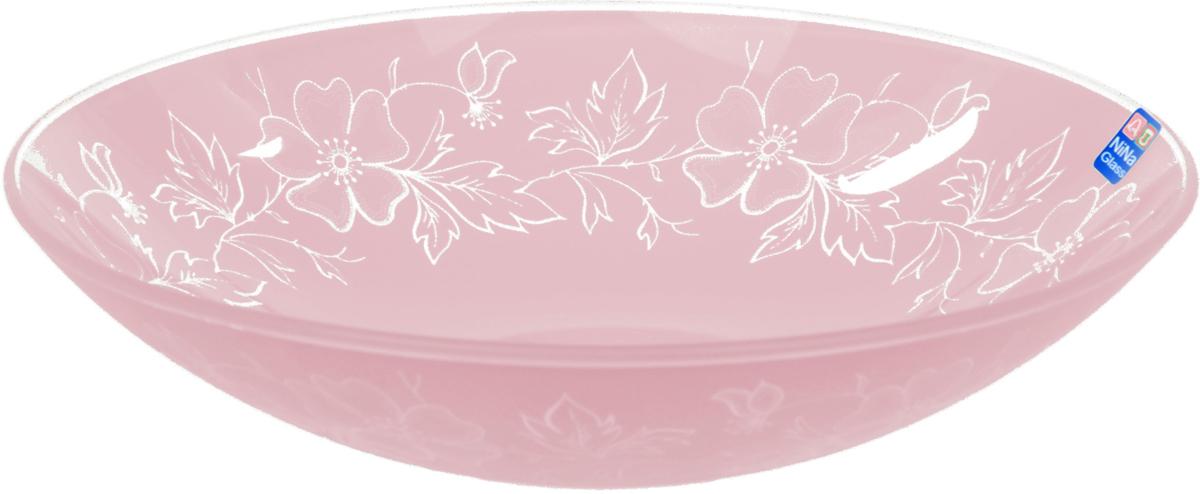 Тарелка Nina Glass Лара, цвет: розовый, диаметр 22,5 смNG85-225-075RСтеклянная посуда Никольского завода светотехнического стекла, известная под торговой маркой NinaGlass, успешно продается в российских магазинах. Продукция выглядит презентабельно, ассортимент весьма широк. Яркие, емкие, приятные тактильно салатники будут шикарно смотреться на обеденном столе. Салатники и блюда предназначены для сервировки стола. Пригодны для ежедневного использования.Цветные салатники и тарелки NinaGlass нельзя использовать в СВЧ и мыть в ПММ.