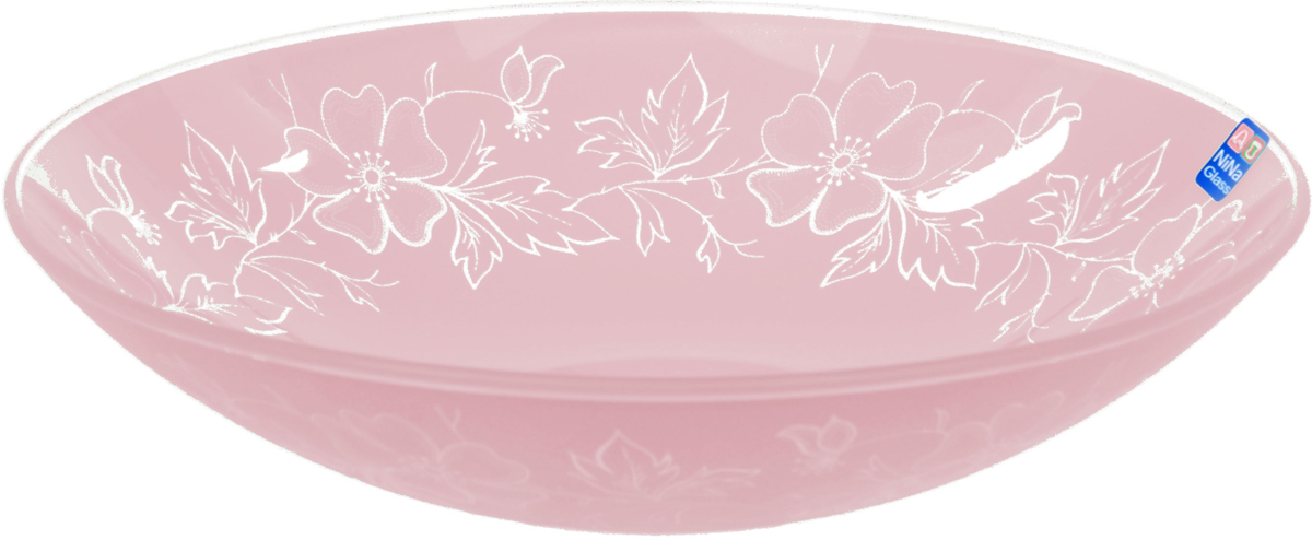 Тарелка Nina Glass Лара, цвет: розовый, диаметр 22,5 см салатник nina glass ажур цвет сиреневый диаметр 16 см