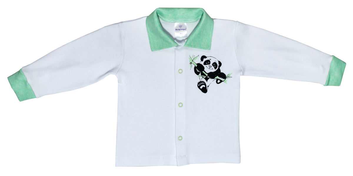 Кофта для мальчика Мамуляндия Панда, цвет: белый, зеленый. 17-904. Размер 92 кофта для мальчика мамуляндия сказочный сон цвет голубой 17 1704 размер 86