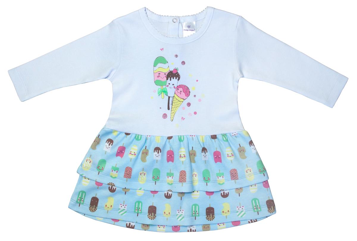 Платье для девочки Мамуляндия Мороженки, цвет: белый, голубой. 17-1207. Размер 8017-1207Платье Мамуляндия станет отличным дополнением к гардеробу вашей малышки. Изготовленное из натурального хлопка, оно необычайно мягкое и легкое. Модель с длинными рукавами застегивается сзади на кнопки.
