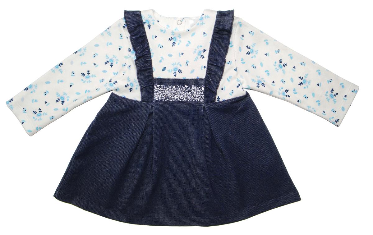 Платье для девочки Мамуляндия Незабудка, цвет: синий, белый. 17-2606. Размер 92