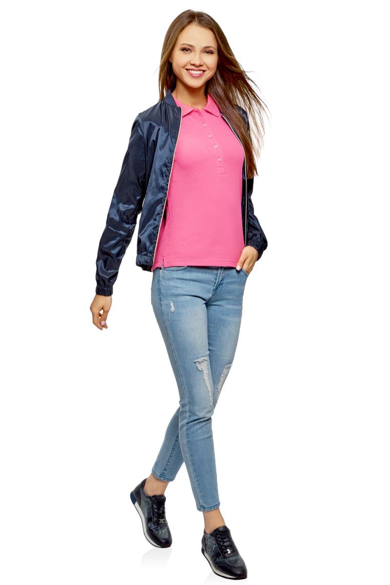 Поло женское oodji Ultra, цвет: ярко-розовый, 2 шт. 19301001T2/46161/4D00N. Размер M (46) поло женское oodji ultra цвет темно синий 2 шт 19301001t2 46161 7900n размер xs 42