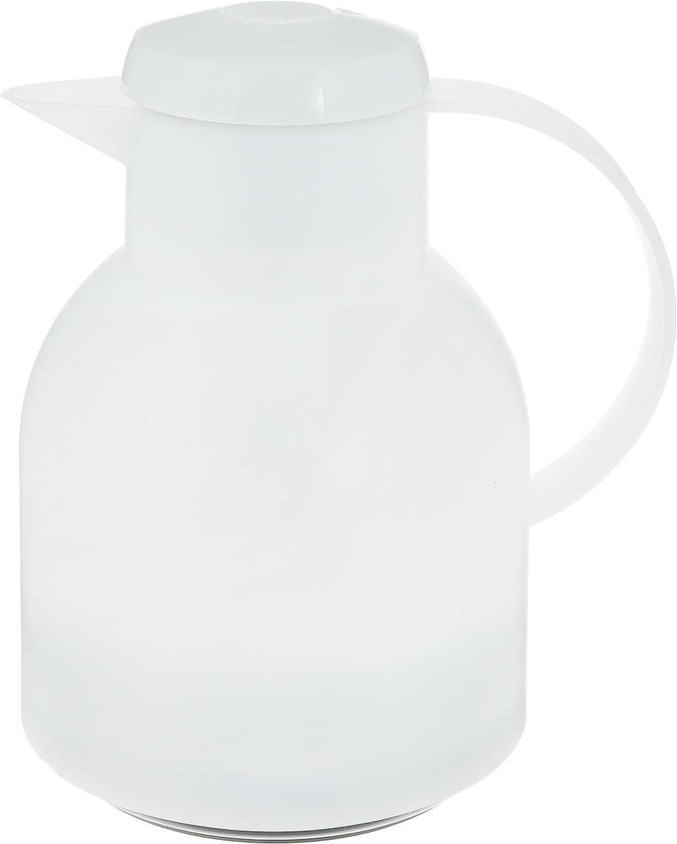 Термос-чайник сохраняет напиток горячим 12 часов, холодным - 24 часа. Легко открывается нажатием центральной кнопки на крышке. Корпус из  высококачественного полупрозрачного цветного пластика тактильно приятной фактуры. 100% герметичный - возможность использования в  поездке. Объем 1 л - самый популярный в сегменте. Вакуумная стеклянная колба, изготовленная вручную - обычно применяется только в  премиальных моделях.